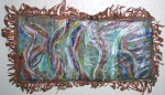 acid painting on shaped and fringed copper